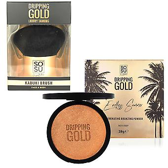 SOSUbySJ Dripping Gold Bronzing Powder & Kabuki Brush Set