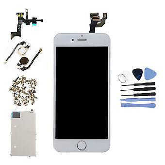 الاشياء المعتمدة® اي فون 6 4.7 & اقتباس وشاشة قبل تجميعها (شاشة تعمل باللمس + LCD + أجزاء) A + الجودة - أبيض + أدوات