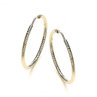 David Deyong Sterling Silver & Yellow Gold Plated Diamond Cut 35mm Hoop Earrings