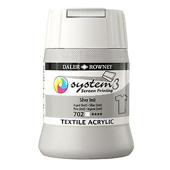 Daler-Rowney System3 250ml Textile Screen Printing Acrylic Paint Silver Imit