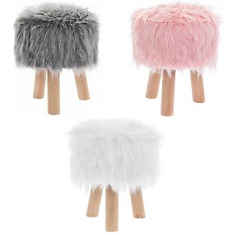 Faux Fur Shaggy Round Stool