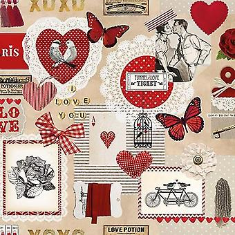 CraftEmotions napkins 5pcs - Love ticket 33x33cm Ambiente 13309805