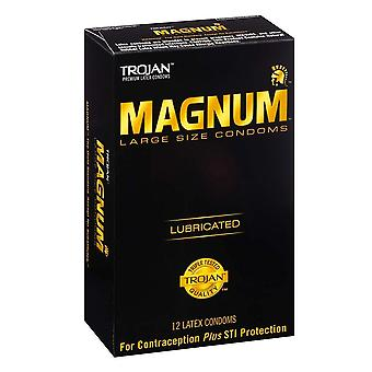 Trojan magnum, smurt latex kondomer, stor størrelse, 12 ea