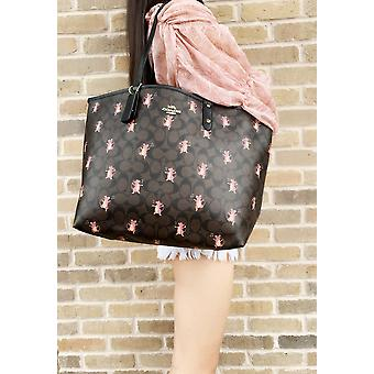 Coach f80231 reversible city tote brown signature mouse