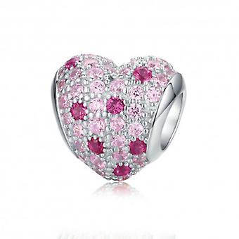 Sterling Silver Charm Pink Heart - 6393