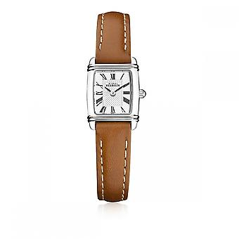 Michel Herbelin 17438-08GO Women's Mini Art Deco Brown Strap Wristwatch