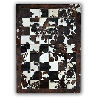 Rugs -Patchwork Leather Cubed Cowhide - Normandy Cow Natural