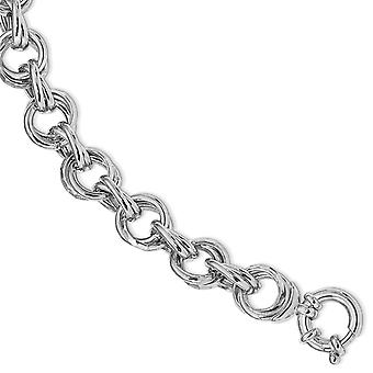 10.47mm 925 Sterling Silver Rhod Polished and Hammered Fancy Link Bracelet 7.5 Inch Jewelry Gifts for Women