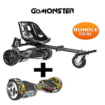 "6.5"" G PRO Hip Hop Bluetooth Hoverboard with Go Monster Hoverkart in Black"