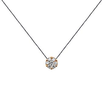 Choker Flower Cluster 18K Gold and Diamonds, on Thread - Rose Gold, London Grey