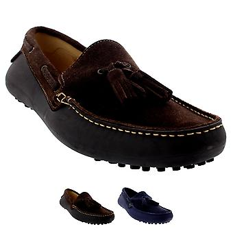 Mens H By Hudson Florio II Slip On Moccasins Tassel Suede Loafers Shoes
