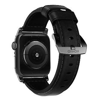 Watch Band 42/44mm Premium Leather Silver Hardware Collection Nomad Black&Silver
