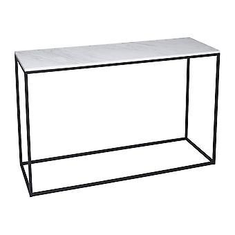 Gillmore valkoinen marmori ja black metal contemporary konsoli pöytä