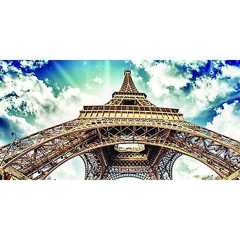 Quadro Tour Eiffel II Multicolore in Legno, Cotone, L60xP120xA3 cm