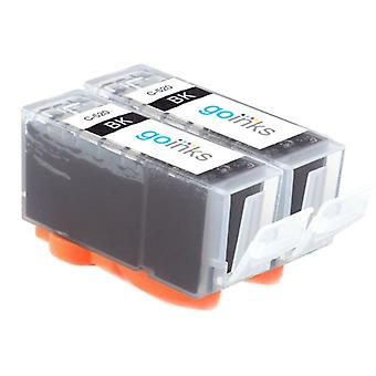 2 Black Ink Cartridges to replace Canon PGI-520Bk Compatible/non-OEM from Go Inks