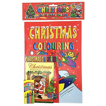 Christmas Value Activity Fun Pack for Kids - Contains Colouring & Activity Books & Crayons