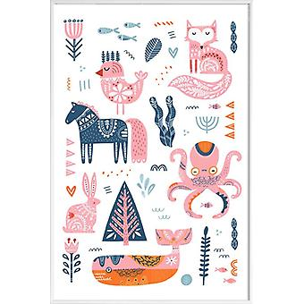 JUNIQE Print - Patchwork Animals - Nursery & Art for Kids Poster in Pink & White