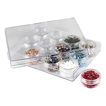 Clear Bead Storage Jar Set, 12 Medium Jars In A Clear Box