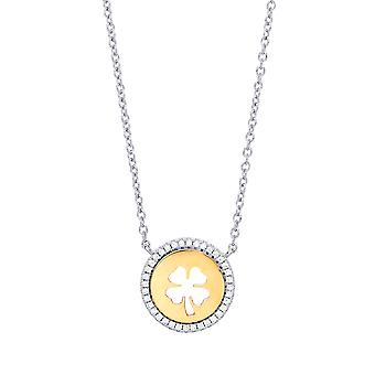 Jewelco Londen dames verguld zilver wit ronde Cubic Zirconia Lucky Clover Halo medaillon NECKLACE 17 + 2 inch