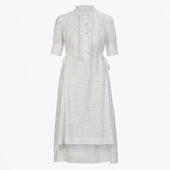 HIGH - Beautify - Shirtwaist Dress With Frill Front - White