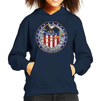 NASA Apollo 16 Mission Badge Kid's Hooded Sweatshirt