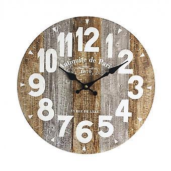 Rebecca Huonekalut Seinäkello Vintage kellot maalaismainen puu 34x34x4