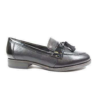 Tamaris 24200 Mulheres de Couro Preto Escorregam em sapatos de loafer
