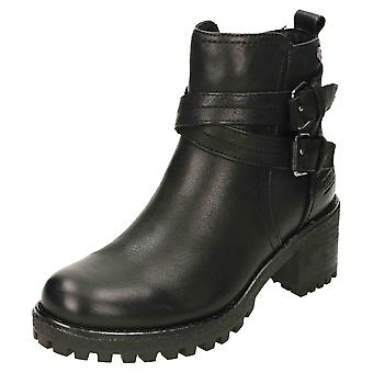 Carmela Chunky Leather Ankle Heeled Boots 67400 Black