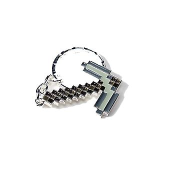 Key Chain - Minecraft - Pickaxe Axe Silver Metal - Licensed - j2872