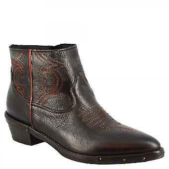Leonardo Scarpe Donna's stivali da cowboy a punta fatti a mano in pelle di vitello nero con zip laterale