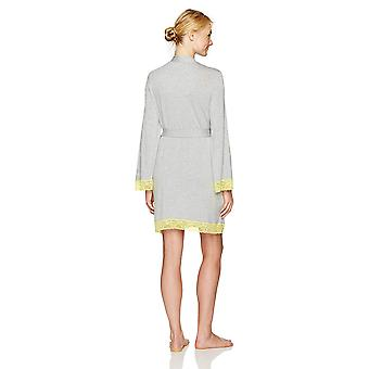 Brand - Mae Women's Jersey Robe with Lace Trim, Heather Grey, Small