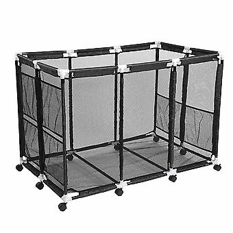 "Yescom 48""x30""x34"" Mesh Pool Storage Bin XX-Large Pool Storage Organizer Rolling Cart for Pool Float Container Black"