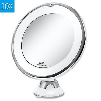 360 Degree Rotation -10x Magnifying Flexible Mirror Folding Vanity Mirror With Led Light Makeup