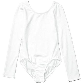 Essentials Girl's Long-Sleeve Dance Leotard, White, Small