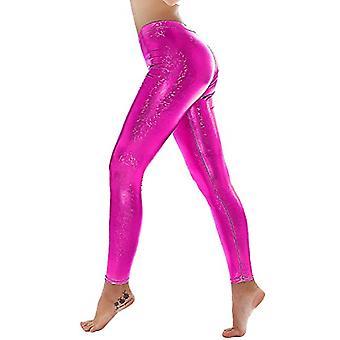 PINKPHOENIXFLY Womens Sexy Shiny Faux Leather Leggings Pants (XL, PF9109 Rose)