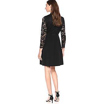 Marca - Lark & Ro Women's vestido de encaje mixto de manga larga, negro 6