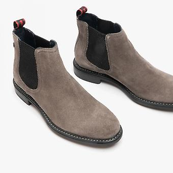 Base London Seymour Mens Leather Chelsea Boots Charcoal