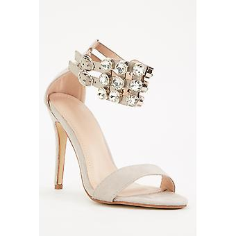 Suedette Diamante Strap Sandals