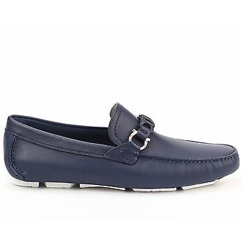 Salvatore Ferragamo Ezcr037004 Men's Blue Leather Loafers