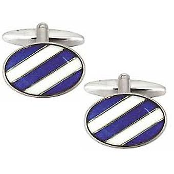 Blue & White Diagonal Stripe Oval Cufflinks