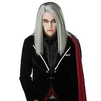 Sleek Vampire Grey Dracula Count Medieval Gothic Mens Costume Wig