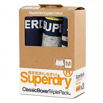 Superdry 3 Pack Classic Boxer Shorts Stripe/Grey/Navy 4JY