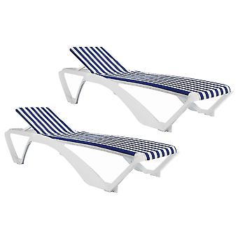 Resol Marina Garden Sun Lounger Bed - Adjustable Reclining Outdoor Summer Furniture - White, Blue Stripe - Pack of 2