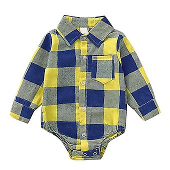Autumn Infant Baby / Bodysuit- Long Sleeve Plaid Pattern Kids Bodysuit Jumpsuit