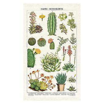 Cavallini Vintage Succulents Cotton Tea Towel