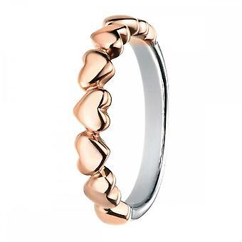 عناصر الفضة ارتفع الذهب متعدد القلب خاتم R3459