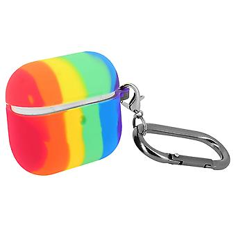Cover for AirPods Pro in Silicone Rainbow Pattern Multicolor Carabiner