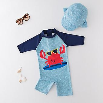 Baby Boy Swimwear + Hat Set Surfing Crab Suit - Infant Toddler Kids Sunscreen