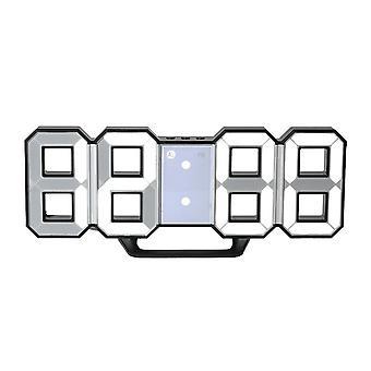 TS-S60-HW Kunststoff 8-Wort 3D LED Uhr 12 / 24 Stunden (schwarze Shell weißes Licht)