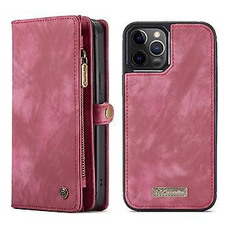 CASEME iPhone 12 / iPhone 12 Pro Retro LompakkoKotelo - Punainen
